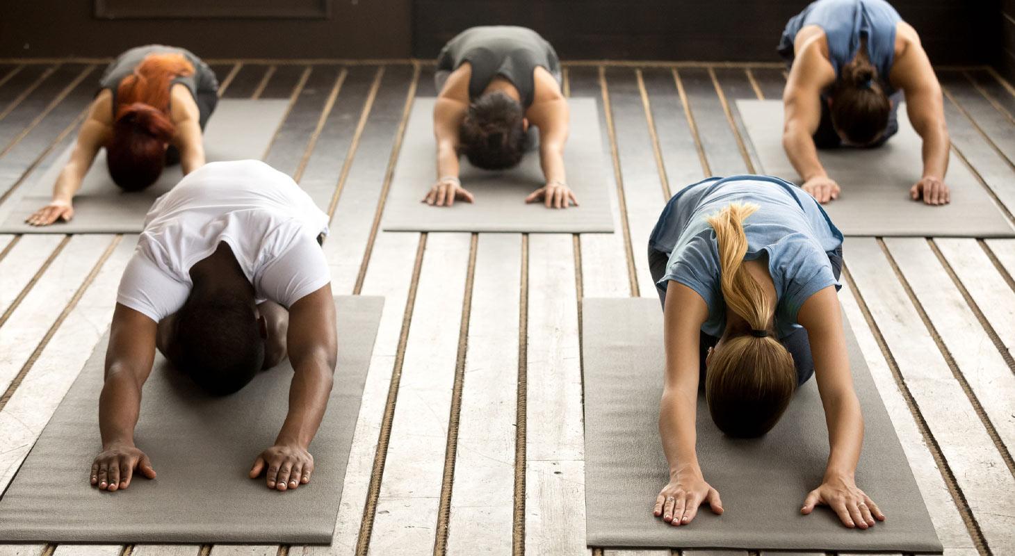 5 personnes dans un cours de yoga dans la position de l'enfant